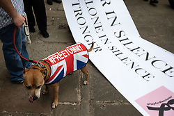 "© Licensed to London News Pictures . 02/06/2018. Manchester, UK. A DFLA supporter with a dog wearing a Union Jack "" FREETOMMY "" coat , in reference to jailed EDL founder Tommy Robinson . The Democratic Football Lads Alliance demonstrate in Manchester , eleven days after the first anniversary of the Manchester Arena terror attack . Photo credit : Joel Goodman/LNP"