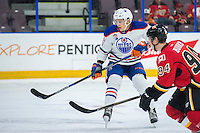 PENTICTON, CANADA - SEPTEMBER 17: Matt Benning #83 of Edmonton Oilers skates against the Calgary Flames on September 17, 2016 at the South Okanagan Event Centre in Penticton, British Columbia, Canada.  (Photo by Marissa Baecker/Shoot the Breeze)  *** Local Caption *** Matt Benning;