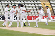 WICKET - Rob Jones is caught at short leg as Chris Wright celebrates before the Bob Willis Trophy match between Lancashire County Cricket Club and Leicestershire County Cricket Club at Blackfinch New Road, Worcester, United Kingdom on 4 August 2020.