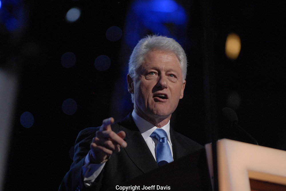 Former President Bill Clinton speaking at the 2008 Democratic National Convention, August 27, 2008 at the Pepsi Center in Denver, Colorado.