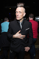 © Licensed to London News Pictures . 01/04/2014 . Manchester , UK . Musician and writer , JOHN ROBB , in the audience . Adam Ant performs at the Manchester Ritz this evening (Tuesday 1st April 2014) . Photo credit : Joel Goodman/LNP