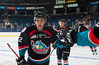 KELOWNA, CANADA - SEPTEMBER 5: Erik Gardiner #12 of the Kelowna Rockets celebrates a goal against the Kamloops Blazers on September 5, 2017 at Prospera Place in Kelowna, British Columbia, Canada.  (Photo by Marissa Baecker/Shoot the Breeze)  *** Local Caption ***
