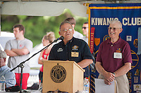 Lt. Governor for Division 8 John Falconer speaks to the crowd during the 70th Anniversary celebration of the Kiwanis Pool in St. Johnsbury Vermont.  Karen Bobotas / for Kiwanis International