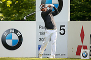 Thailand golf professional Thongchai Jaidee tees off on the 5th during the BMW PGA Championship at the Wentworth Club, Virginia Water, United Kingdom on 26 May 2016. Photo by Simon Davies.