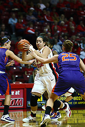 01 January 2012: Brianna Puni looks for a way inside during an NCAA women's basketball game between the Evansville Purple Aces and the Illinois Sate Redbirds at Redbird Arena in Normal IL