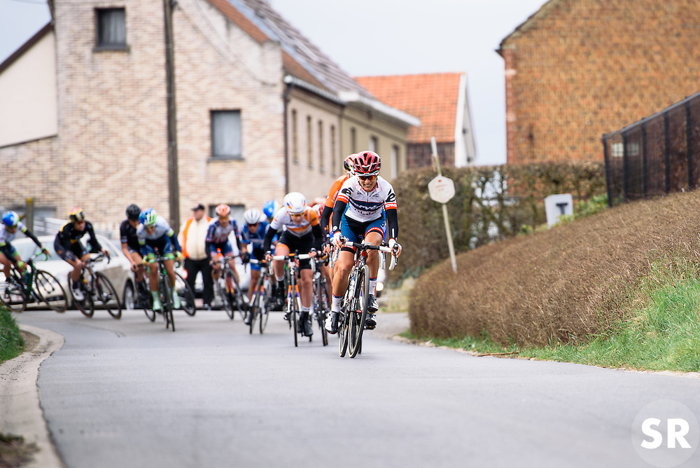 Ashleigh Moolman Pasio leads on the road back to Gooik - Pajot Hills Classic 2016, a 122km road race starting and finishing in Gooik, on March 30th, 2016 in Vlaams Brabant, Belgium.