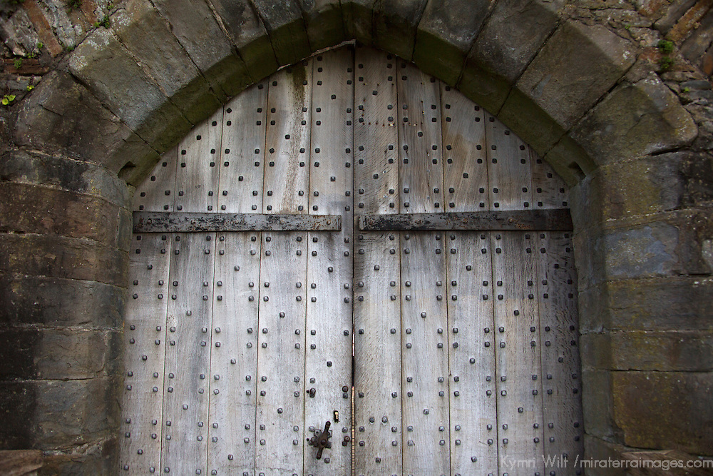 Europe, United Kingdom, Wales, Caerphilly. Door of Caerphilly Castle, the largest in Wales.