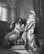 Delilah learning the secret of Samson's great strength so that she can betray him to the Philistines. Without his long hair he will be helpless.  Illustration by Gustave Dore (1832-1883) French painter and illustration for 'The Bible' (London, 1866). Wood engraving.
