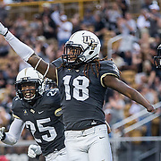 Central Florida linebacker Shaquem Griffin (18) celebrates his fumble recovery and run for a touchdown during the first half of an NCAA college football game against Austin Peay State University in Orlando, FL. (Photo/Willie J. Allen Jr.)