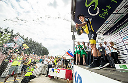 Primoz Roglic of Team Lotto NL Jumbo, Stage winner and winner in Overall classification celebrates during trophy ceremony after the 5th Time Trial Stage of 25th Tour de Slovenie 2018 cycling race between Trebnje and Novo mesto (25,5 km), on June 17, 2018 in  Slovenia. Photo by Vid Ponikvar / Sportida