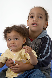 Portrait of brother and baby sister,