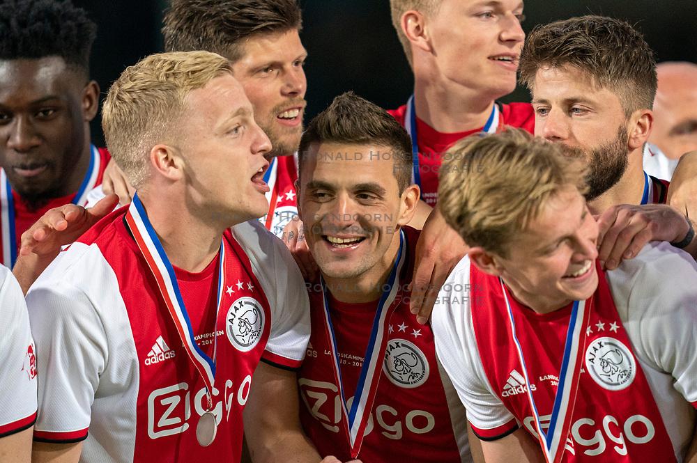 15-05-2019 NED: De Graafschap - Ajax, Doetinchem<br /> Round 34 / It wasn't really exciting anymore, but after the match against De Graafschap (1-4) it is official: Ajax is champion of the Netherlands / Donny van de Beek #6 of Ajax, Dusan Tadic #10 of Ajax, Frenkie de Jong #21 of Ajax
