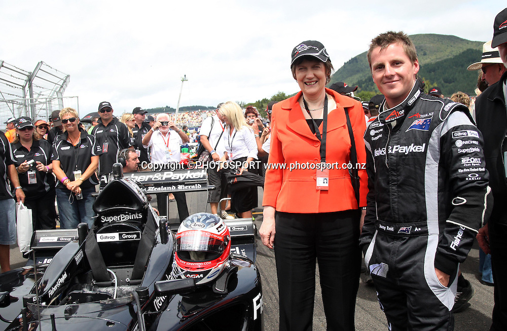 Team NZ driver Jonny Reid and New Zealand Prime Minister Helen Clark. A1 GP feature race, Taupo, New Zealand, Sunday 20 January 2008. Photo: Andrew Cornaga/PHOTOSPORT