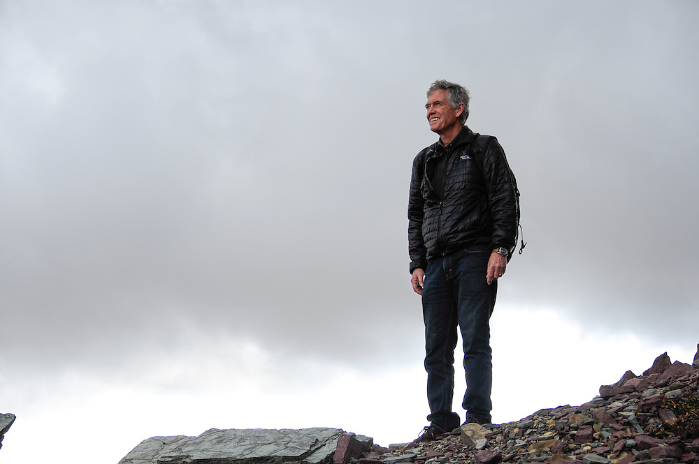 New York Times correspondent, Michael Wines, standing atop a lateral moraine of a former glacier at the base of Mount Clements at Logan Pass, Glacier National Park, Montana, Tuesday, October 7, 2014.