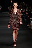 Jing Wen (SUPREME) walks the runway wearing Altuzarra Fall 2015 during Mercedes-Benz Fashion Week in New York on February 14, 2015
