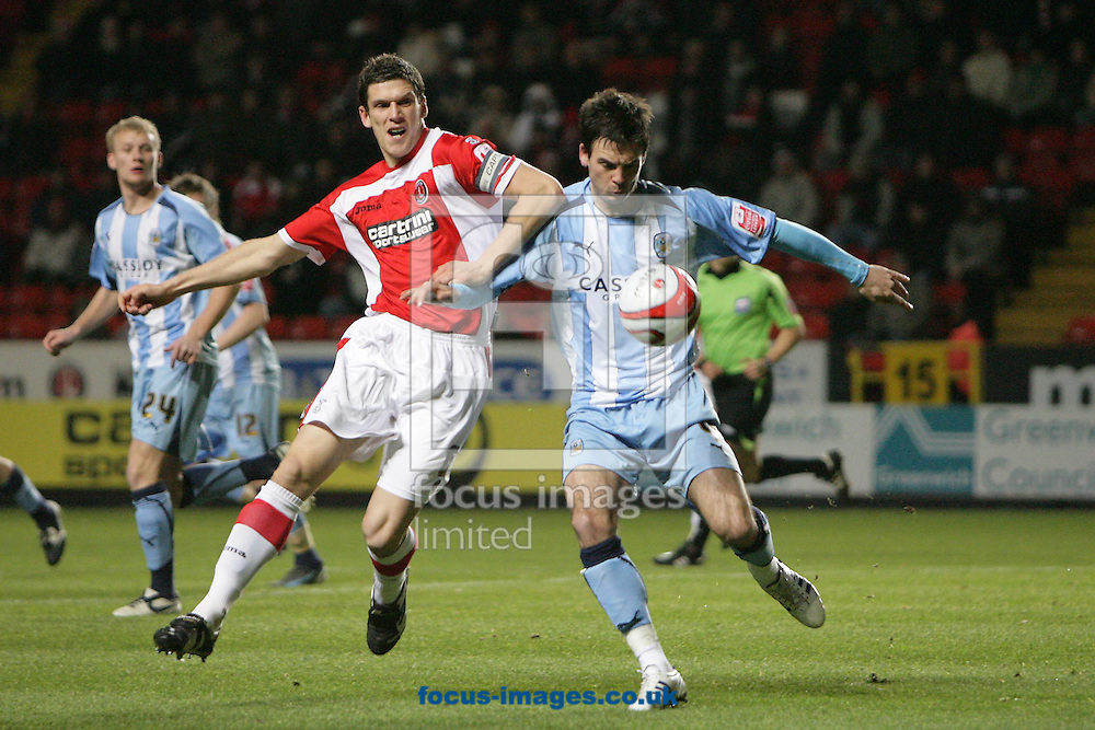 London - Tuesday December 8th, 2008: Mark Hudson (L) of Charlton Athletic in action against Daniel Fox (R) of Coventry City during the Coca Cola Championship match at The Valley, London. (Pic by Mark Chapman/Focus Images)