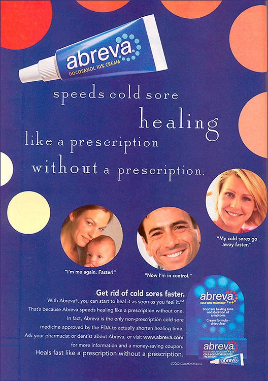 Abreva ad, portraits, testimonial, pharmaceutical, drug, healthcare