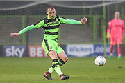 Forest Green Rovers Jon Moran(28) passes the ball forward during the Gloucestershire Senior Cup match between Forest Green Rovers and U23 Bristol City at the New Lawn, Forest Green, United Kingdom on 9 April 2018. Picture by Shane Healey.