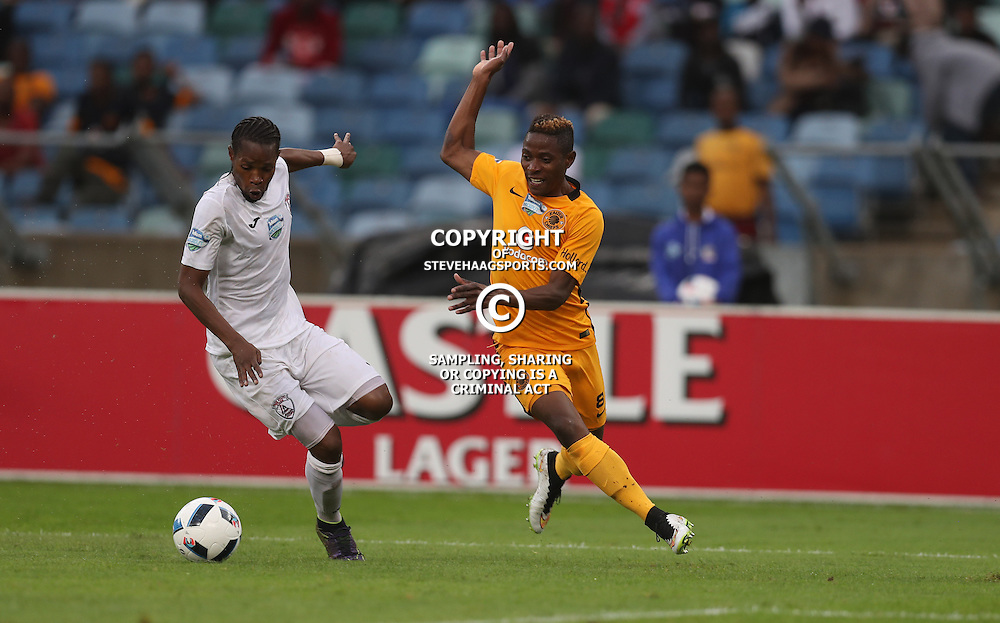 Davies Nkausu of Free State Stars and Michelle Katsvairo of Kaizer Chiefs during the Telkom Knockout quarterfinal  match between Kaizer Chiefs and Free State Stars at the Moses Mabhida Stadium , Durban, South Africa.6 November 2016 - (Photo by Steve Haag Kaizer Chiefs)
