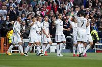Real Madrid´s /players celebrate Sergio Ramos´s goal (1-0) during La Liga match between Real Madrid and Malaga at Santiago Bernabeu stadium in Madrid, Spain. April 18, 2015. (ALTERPHOTOS/Victor Blanco)