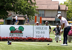 May 26, 2018 - Fort Worth, TX, USA - Jon Rahm lines up a tee shot on the 18th during the Fort Worth Invitational Golf Tournament at Colonial Country Club Saturday May 26, 2018 in Fort Worth, Texas. (Credit Image: © Bob Booth/TNS via ZUMA Wire)