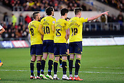 The U's form a defensive wall during the The FA Cup Fourth Round match between Oxford United and Blackburn Rovers at the Kassam Stadium, Oxford, England on 30 January 2016. Photo by Dennis Goodwin.