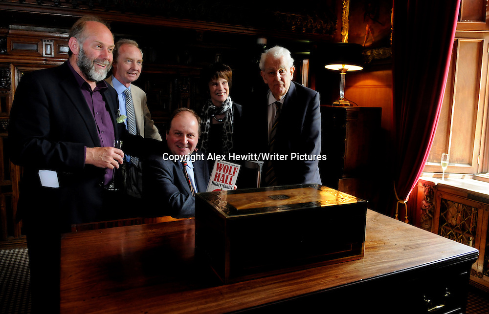 The Duke and Duchess of Buccleuch host the inaugural Walter Scott Prize for Historical Fiction at Abbotsford House in the Scottish Borders. <br /> Pictured (l-r) Alistair Moffat ( festival director ) Duke of Buccleuch, James Naughtie, Duchess of Buccleuch, Sir Tam Dalyell<br /> The prize was won by Hilary Mantel for her book Wolf Hall and her prize was presented by Sir Tam Dalyell and accepted on her behalf by James Naughtie<br /> The book festival runs from Thursday 17th June to Sunday 20th June<br /> for further info please go to the website at www.bordersbookfestival.org or contact Rebecca Salt on 07970 783 213 or rebecca@stonehillsalt.co.uk<br /> <br /> Copyright Alex Hewitt/Writer Pictures<br /> contact +44 (0)20 822 41564 <br /> info@writerpictures.com <br /> www.writerpictures.com
