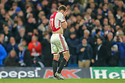 RED CARD Ajax defender Daley Blind (17) walks off the pitch after being given a red card during the Champions League match between Chelsea and Ajax at Stamford Bridge, London, England on 5 November 2019.