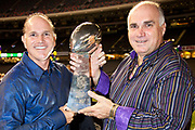 Gerry and Tommy Cvitanovich with Lombardi trophy; U.S. Rep. Steve Scalise's kick off party for the 2012 Washington Mardi Gras in the Louisiana Superdome honoring King Tommy Cvitanovich and Queen Jayne Champagne