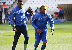 Cape Town City players Sibusiso Masina and Thamsanqa Mkhize against Polokwane City in an MTN8 quarter-final match at the Cape Town Stadium on August 12, 2017 in Cape Town, South Africa.