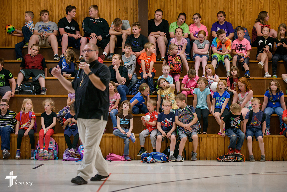 The Rev. Joel Fritsche, career missionary to the Dominican Republic, visits his former congregation, Zion Lutheran Church and School, Staunton, Ill., for a mission presentation to the school children on Wednesday, April 26, 2017, in Staunton.  LCMS Communications/Erik M. Lunsford
