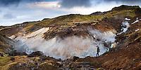 Jarðhiti í Innstadal. Geothermal area at Innstidalur, Iceland.