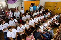 Press conference of team Slovenia at arrival at the end of European Athletics Championships Barcelona 2010 to Slovenia, on August 2, 2010 at Airport Joze Pucnik, Brnik, Slovenia. (Photo by Vid Ponikvar / Sportida)