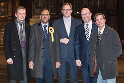© Licensed to London News Pictures . 16/02/2017. Stoke-on-Trent, UK. L-R JACK BRERETON ( Conservative ) , DR ZULFIQAR ALI ( Liberal Democrats ) , GARETH SNELL ( Labour ), PAUL NUTTALL ( UKIP ) and ADAM COLCLOUGH ( Green Party ) pose outside Hanley Town Hall after giving a five-way radio hustings at BBC Radio Stoke . The five candidates are competing for the vacant seat of Stoke-on-Trent Central . Photo credit: Joel Goodman/LNP