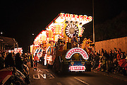 The Topper JCC entry was the first cart in the main procession of 2010 Bridgwater Guy Fawkes Carnival and the runner up in the juvenile cart class, called Ceremonial Barge.