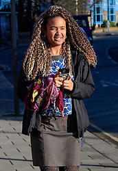 © Licensed to London News Pictures. 17/01/2017. London, UK. NAOMI MABITA, seen at lunch break outside Willesden Magistrates Court in west London where she is one of nine people charged with wilfully obstructing the highway at Heathrow Airport. A group of protesters supporting the Black Lives Matter group blocked the M4 spur road to Heathrow Airport in August last year. Photo credit: Ben Cawthra/LNP
