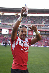 Courtnall Skosan aplauds the crowd after the semi final of the Vodacom Super Rugby 2016 season between the Lions and the Highlanders held at the Emirates Airline Park in Johannesburg, South Africa on the 30th July 2016Photo by Real Time Images