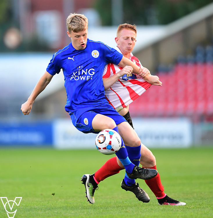 Lincoln City&rsquo;s Reece Robinson-Jones vies for possession with Leicester City&rsquo;s Cal Templeton<br /> <br /> Lincoln City under 18s Vs Leicester City under 18s at Sincil Bank, Lincoln.<br /> <br /> Picture: Chris Vaughan/Chris Vaughan Photography<br /> <br /> Date: July 28, 2016