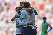 England forward Harry Kane (9) celebrates with teammates after scoring a goal taking the score to 2-0 to England during the Friendly International match between England and Nigeria at Wembley Stadium, London, England on 2 June 2018. Picture by Toyin Oshodi.