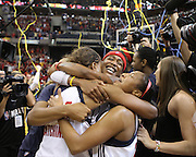 October 21 2012: Indiana Fever celebrate winning the WNBA championship in game 4 of the WNBA Finals between the Minnesota Lynx and the Indiana Fever at Bankers Life Fieldhouse in Indianapolis, Indiana. Indiana beat Minnesota 87-78