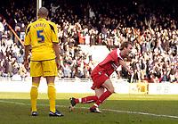 Photo: Alan Crowhurst.<br />Leyton Orient v Cheltenham Town. Coca Cola League 2. 11/03/2006. Paul Connor (R) celebrates his goal for Orient.