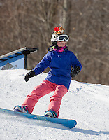 Alexa Mailloux hits the rails and jumps in Blundersmoke Park with Gunstock Freestyle Academy in preparation for the Nationals at Cooper Mountain, Colorado later this month.  (Karen Bobotas/for the Laconia Daily Sun)