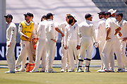The English Team look at the replay to see if it was a No Ball or not during the Magellan fourth test match between Australia v England at  the Melbourne Cricket Ground, Melbourne, Australia on 26 December 2017. Photo by Mark  Witte.