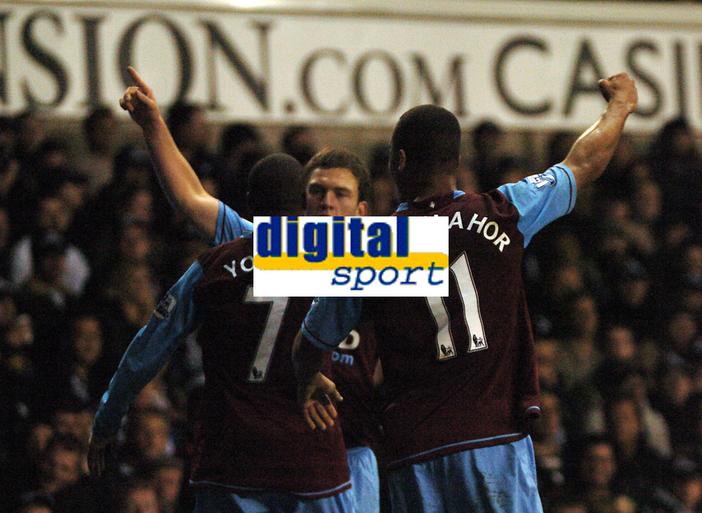 Photo: Tony Oudot.<br /> Tottenham Hotspur v Aston Villa. The FA Barclays Premiership. 01/10/2007.<br /> Craig Gardner of Aston Villa celebrates his goal with team mates