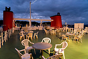 Early morning on the Tokyo bay Tokyo-Wan ferry between Chiba and Yokosuka Kanagawa prefecture Japan