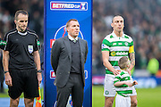 Celtic manager Brendan Rogers and Celtic midfielder Scott Brown (#8) before the Scottish Cup final match between Aberdeen and Celtic at Hampden Park, Glasgow, United Kingdom on 27 November 2016. Photo by Craig Doyle.