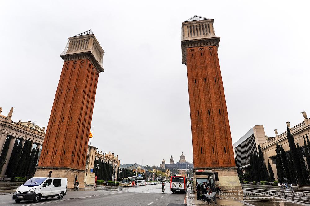 Spain, Barcelona. Plaça d'Espanya at the foot of Montjuïc. The Venetian towers.