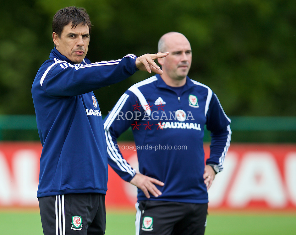 CARDIFF, WALES - Monday, June 8, 2015: Wales' manager Chris Coleman and sport psychologist Ian Mitchall during a training session at the Vale of Glamorgan ahead of the UEFA Euro 2016 Qualifying Round Group B match against Belgium. (Pic by David Rawcliffe/Propaganda)