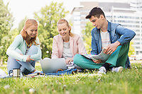 University students studying on campus