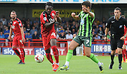 Roarie deacon and george francombe battle for the ball during the Sky Bet League 2 match between Crawley Town and AFC Wimbledon at the Checkatrade.com Stadium, Crawley, England on 15 August 2015. Photo by Michael Hulf.